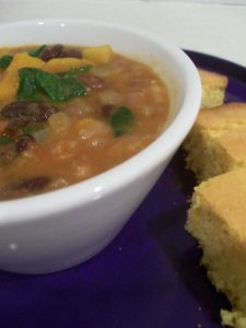 Spicy Bean Chili Stew with Cornbread