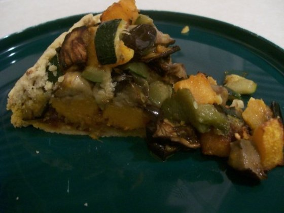 Roasted Vegetable Tart, ready to eat. Yum!