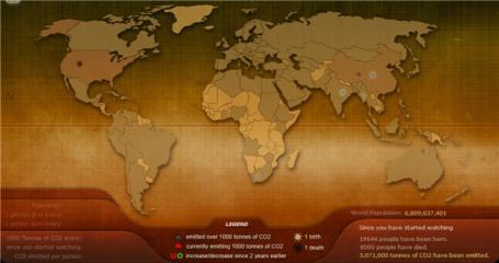 Screenshot of the Breathing Earth simulation.