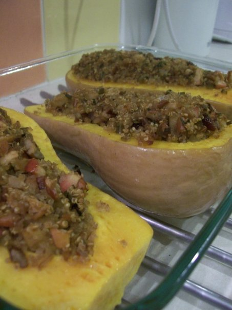 Quinoa-stuffed butternut pumpkins (squash)