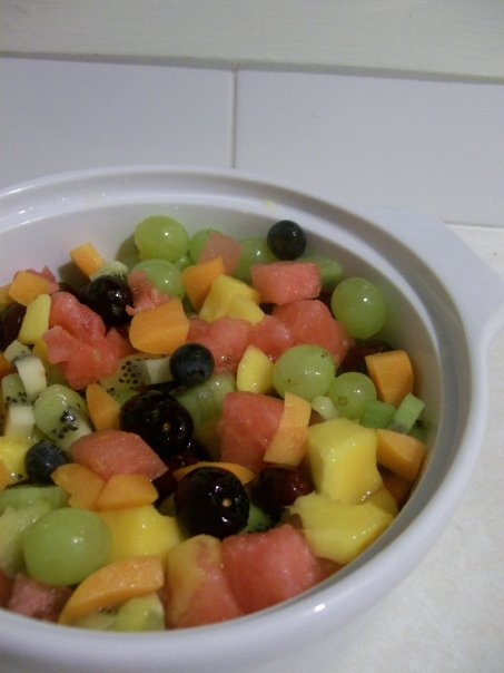 Fruit salad is soooooo good on a hot summer day!