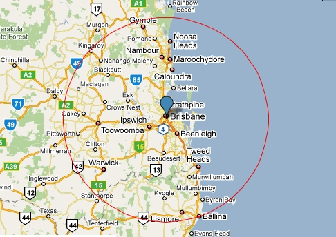 My local food radius - 100 miles around Brisbane.