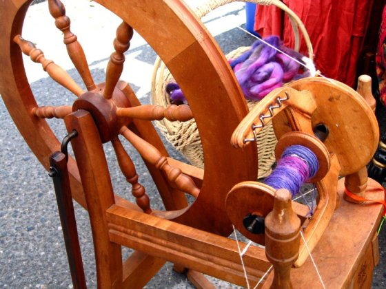 yarn and spinning wheel