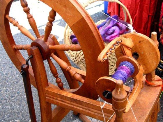 yarn and spinning wheel