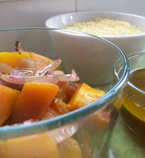 rosemary butternut pumpkin with couscous and rosemary oil