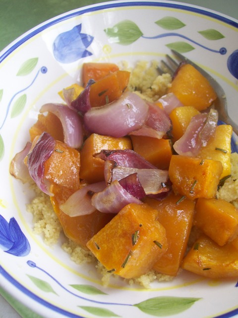Rosemary butternut pumpkin and onion over couscous.