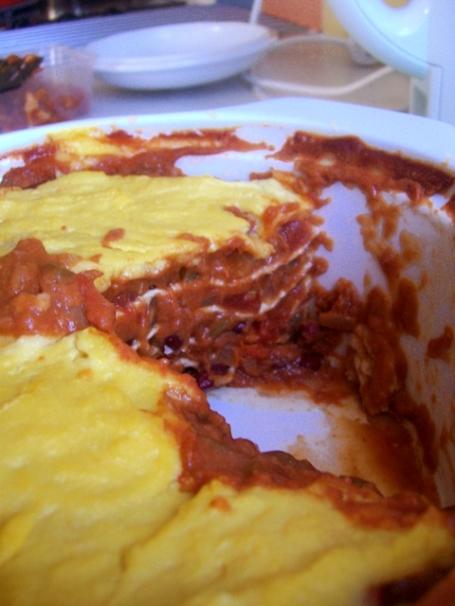 Bean Tortilla Stack in dish