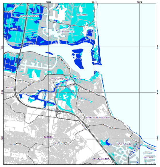 Map showing inundation of parts of Maroochydore, Alexandra Headlands, Cotton Tree, Twin Waters, Bli Bli, Pacific Paradise, Mudjimba and Mooloolaba, due to sea level rises. Links to pdf map.