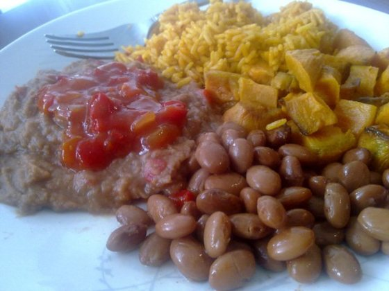 refried beans, pinto beans, rice, sweet potato, salsa