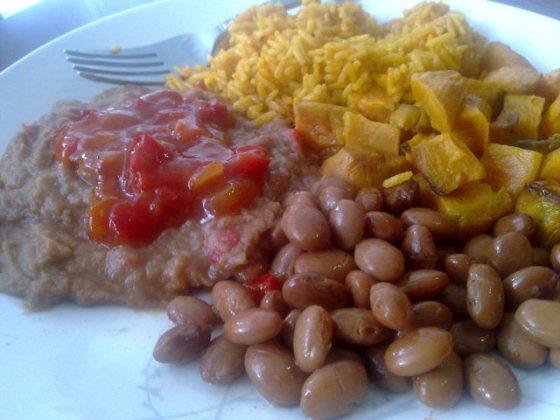 refried beans, pinto beans, rice, sweet potato, salsa